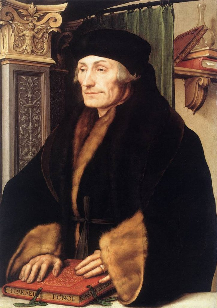 Portrait of Desiderius Erasmus of Rotterdam with Renaissance Pilaster. Hans Holbein el Joven (1497/1498–1543) - Fuente: Web Gallery of Art: Image Info about artwork